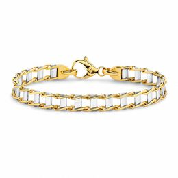 Small Railroad Bracelet in 14K Two-Tone Gold - 8.0""