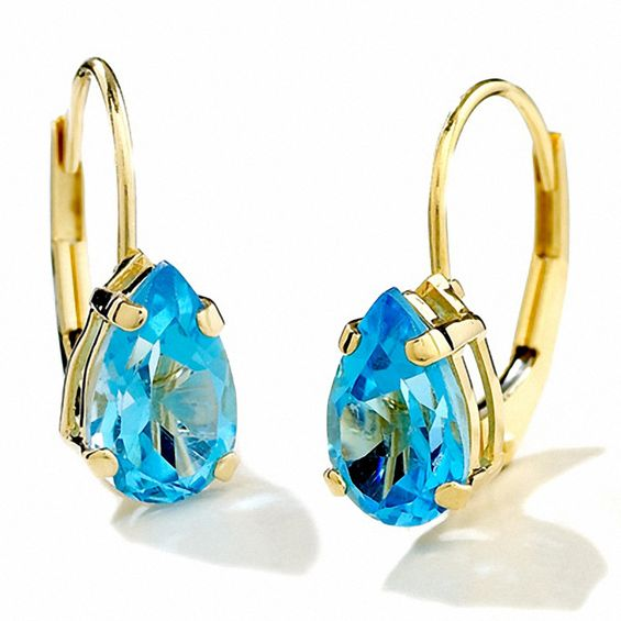 Pear Shape Blue Topaz Leverback Earrings In 14k Gold