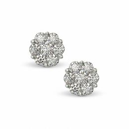 1/2 CT. T.W. Diamond Flower Earrings in 14K White Gold