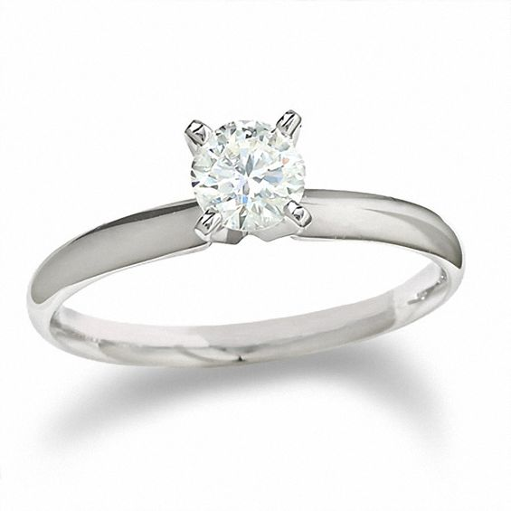 1 2 Ct Diamond Solitaire Engagement Ring In 14k White Gold