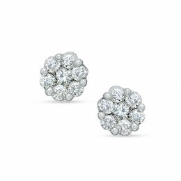 1 CT. T.W. Diamond Flower Earrings in 14K White Gold
