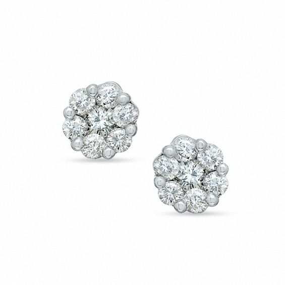 T W Diamond Flower Earrings In 14k White Gold