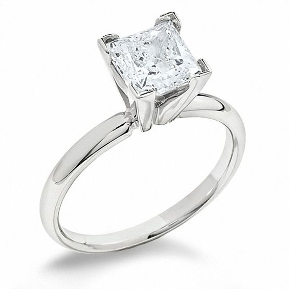 Princess Cut Diamond Solitaire Engagement Ring In 14k White Gold