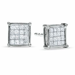 1/3 CT. T.W. Composite Princess Diamond Earrings in 14K White Gold