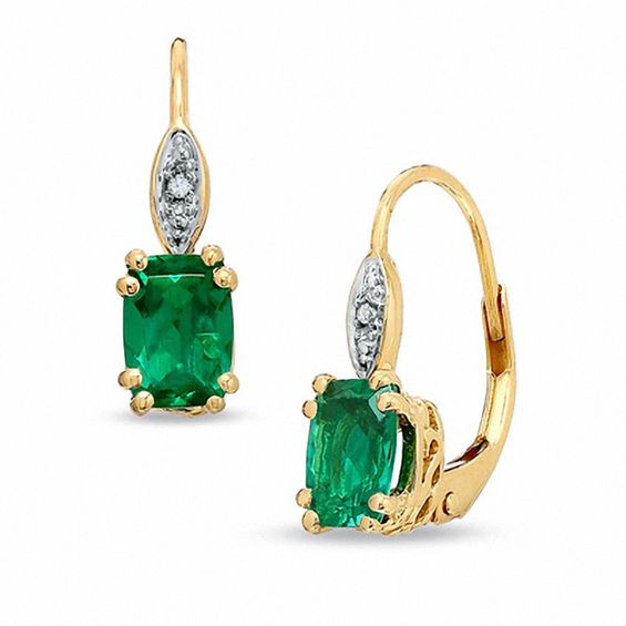Cushion Cut Lab Created Emerald And Diamond Accent Drop Earrings In 10k Gold