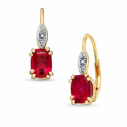 Cushion-Cut Lab-Created Ruby and Diamond Accent Drop Earrings in 10K Gold