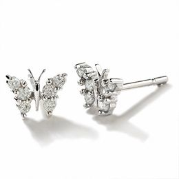 1/5 CT. T.W. Diamond Butterfly Earrings in 14K White Gold