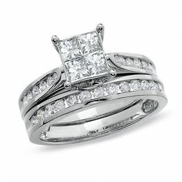 1-1/4 CT. T.W. Quad Princess-Cut Diamond Bridal Set in 14K Gold