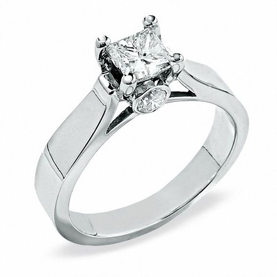 Princess Cut Diamond Enement Rings White Gold | 1 Ct T W Bezel Set Princess Cut Diamond Solitaire Engagement Ring