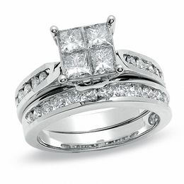 2 CT. T.W. Quad Princess-Cut Diamond Bridal Set in 14K White Gold