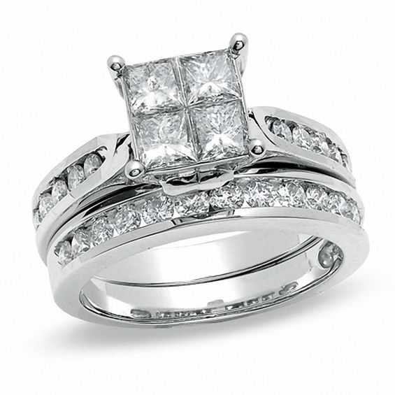 tw quad princess cut diamond bridal set in 14k white gold - Princess Cut Diamond Wedding Ring Sets