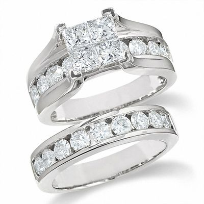 7b3b068ed3f16c 3 CT. T.W. Quad Princess-Cut Diamond Bridal Set in 14K White Gold ...