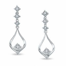 1/6 CT. T.W. Diamond Teardrop Dangle Earrings in 14K White Gold