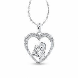 1/5 CT. T.W. Diamond Motherly Love Pendant in 10K White Gold