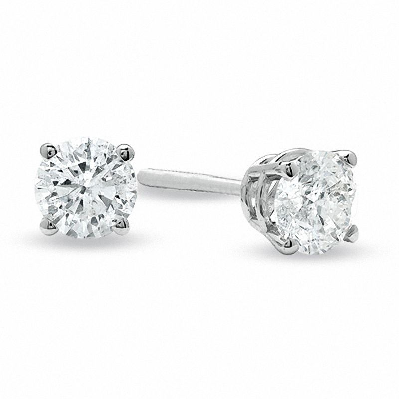 3 4 Ct T W Diamond Solitaire Stud Earrings In 14k White Gold Zales Outlet