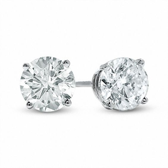 2 Ct T W Diamond Solitaire Stud Earrings In 14k White Gold