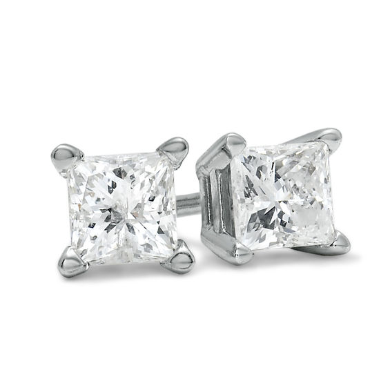 T W Princess Cut Diamond Solitaire Stud Earrings In