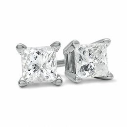 3/4 CT. T.W. Princess-Cut Diamond Solitaire Stud Earrings in 14K White Gold