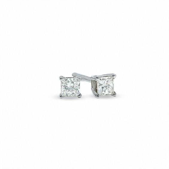 1 5 Ct T W Princess Cut Diamond Solitaire Stud Earrings In 14k White