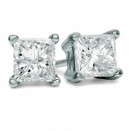 3/8 CT. T.W. Princess-Cut Diamond Solitaire Stud Earrings in 14K White Gold