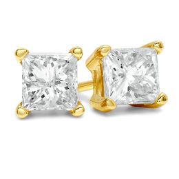 3/8 CT. T.W. Princess-Cut Diamond Solitaire Stud Earrings in 14K Gold