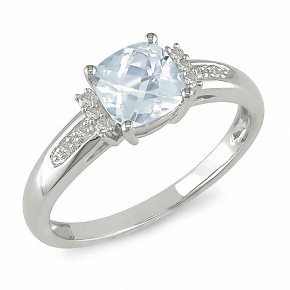 Cushion Cut Aquamarine And Diamond Engagement Ring In 10k