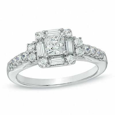 950b92ffa829ad T.W. Princess-Cut Diamond Art Deco Engagement Ring in 14K White Gold