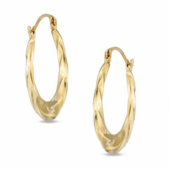 14k Gold Large Polished Swirl Hoop Earrings
