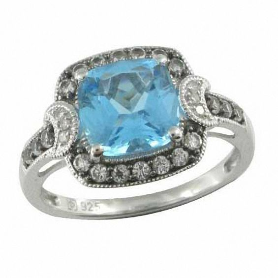 Zales 8.0mm Blue Topaz and Lab-Created White Sapphire Frame Ring in Sterling Silver - Size 7