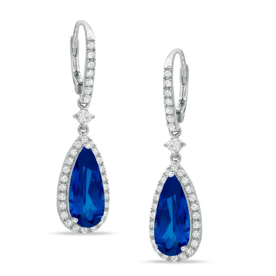 Fine Jewelry Lab-Created Blue Sapphire and Lab-Created White Sapphire Sterling Silver Triple-Drop Earrings