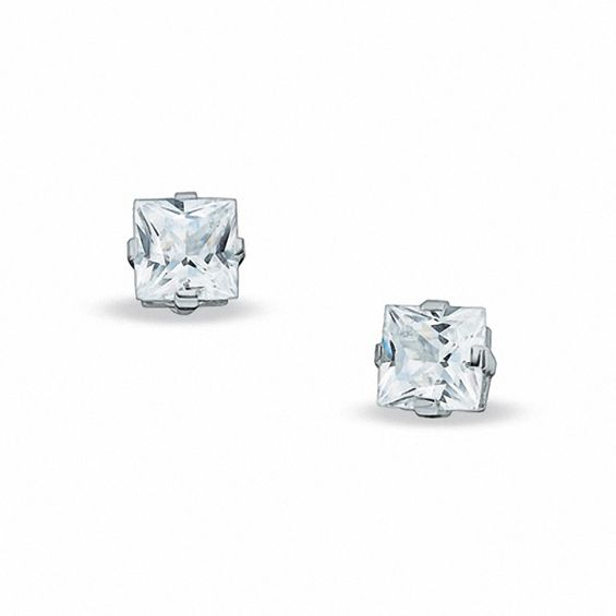 7 0mm Princess Cut Lab Created White Shire Stud Earrings In Sterling Silver