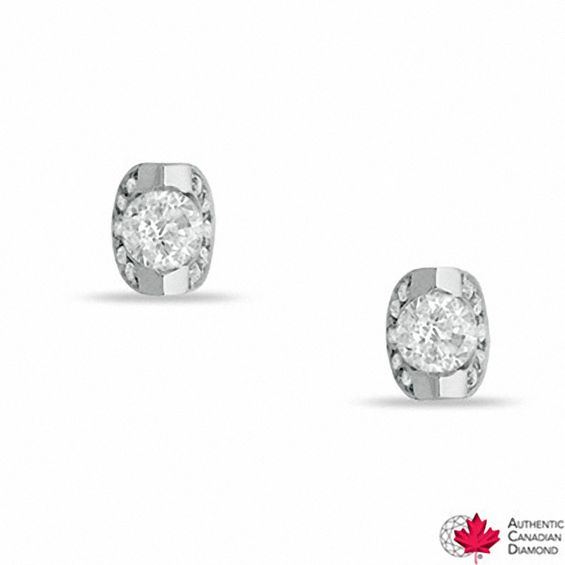 T W Certified Canadian Diamond Stud Earrings In 14k White Gold