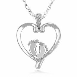 Diamond Accent Footprints on My Heart Pendant in 10K White Gold