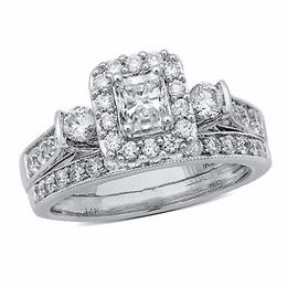1-1/5 CT. T.W. Radiant-Cut Diamond Frame Vintage-Style Bridal Set in 14K White Gold
