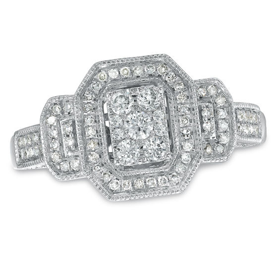 1/2 CT. T.W. Composite Diamond Square Framed Engagement Ring in 10K ...