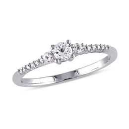 Lab-Created White Sapphire and Diamond Accent Promise Ring in Sterling Silver