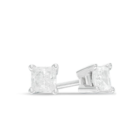 1 2 Ct T W Certified Canadian Princess Cut Diamond Solitaire Stud Earrings In