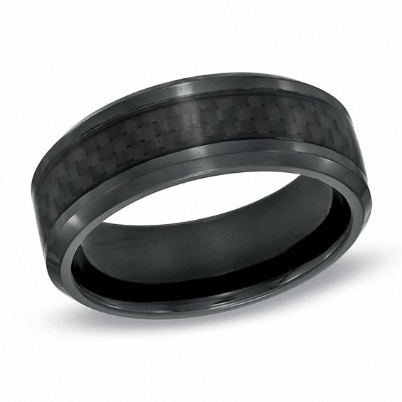 Men S 8 0mm Carbon Fiber Inlay Comfort Fit Black Anium Wedding Band Size 10
