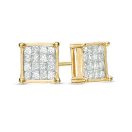 1/3 CT. T.W. Princess-Cut Composite Diamond Square Stud Earrings in 14K Gold
