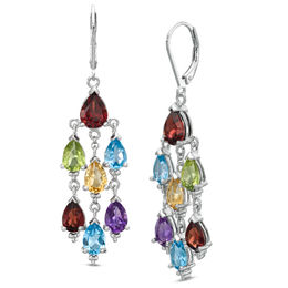 Multi Semi-Precious Pear-Shaped Gemstone Chandelier Earrings in Sterling Silver