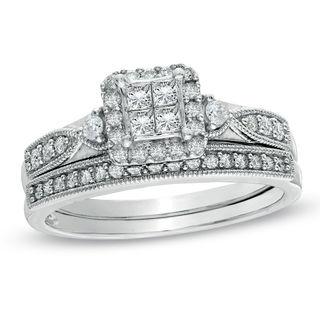 1 2 Ct T W Quad Princess Cut Diamond Vintage Style