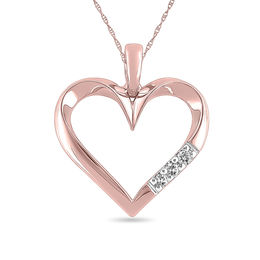 Diamond Accent Three Stone Heart Pendant in 10K Rose Gold
