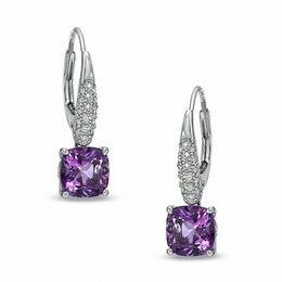 7.0mm Cushion-Cut Amethyst and Lab-Created White Sapphire Drop Earrings in Sterling Silver