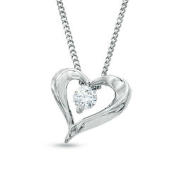 1/10 CT. Certified Canadian Diamond Solitaire Heart Pendant in 14K White Gold (I/I2) - 17""