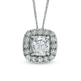 1/3 CT. T.W. Certified Canadian Diamond Frame Pendant in 14K White Gold (I/I2) - 17""