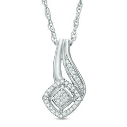 1/15 CT. T.W. Composite Diamond Flame Pendant in Sterling Silver