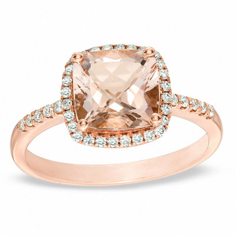8 0mm Cushion Cut Morganite And 1 5 Ct T W Diamond Frame Ring