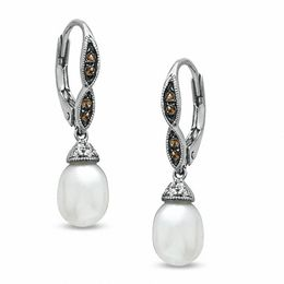 7.0 - 7.5mm Cultured Freshwater Pearl, Smoky Quartz and Lab-Created White Sapphire Drop Earrings in Sterling  Silver