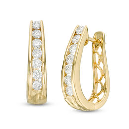 T W Diamond Horseshoe Hoop Earrings In 14k Gold