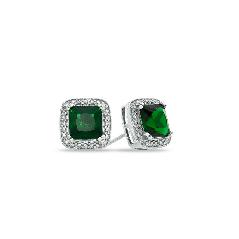 02b176a1ece9f 7.0mm Princess-Cut Lab-Created Emerald and Diamond Accent Stud Earrings in  Sterling Silver|Zales Outlet